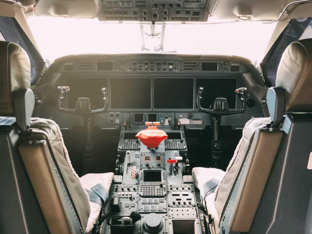 Interior of a pilot cockpit cabin private jet
